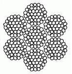 Канат стальной двойной свивки типа тк конструкции 6x37(1+6+12+18)+ 1x37(1+6+12+18)(ГОСТ 3068-88)